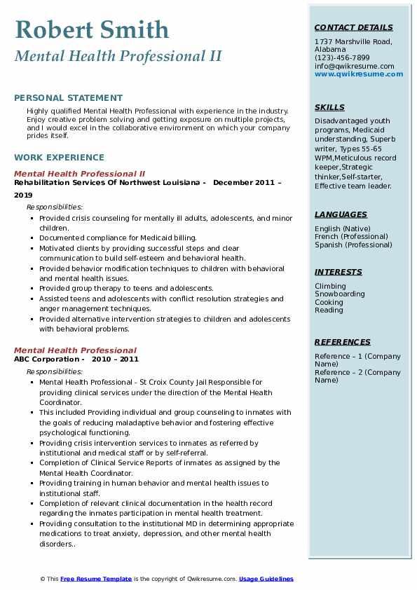 Mental Health Professional II Resume Sample