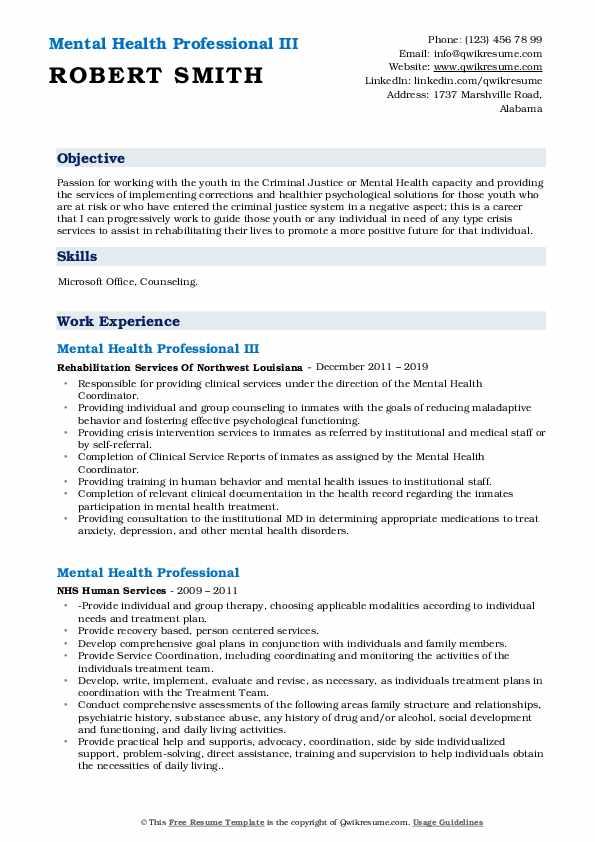 Mental Health Professional III Resume Format
