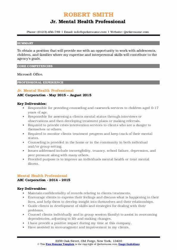 Jr. Mental Health Professional  Resume Example