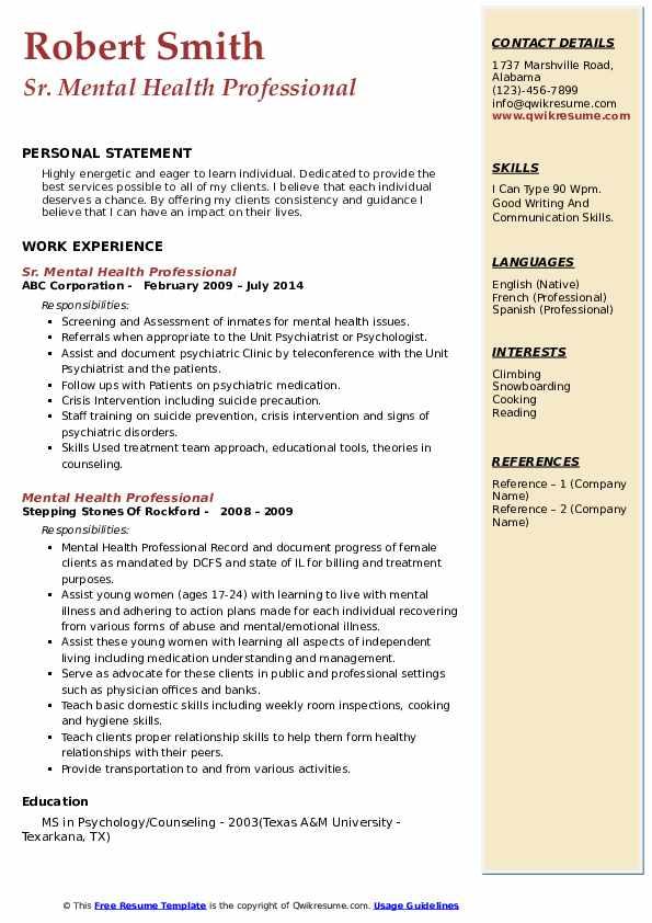 Sr. Mental Health Professional Resume Sample