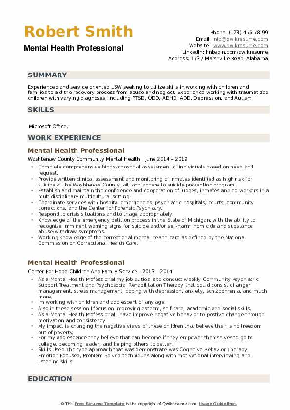 Mental Health Professional Resume Samples Qwikresume