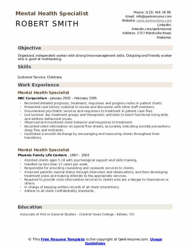 Mental Health Specialist Resume Format