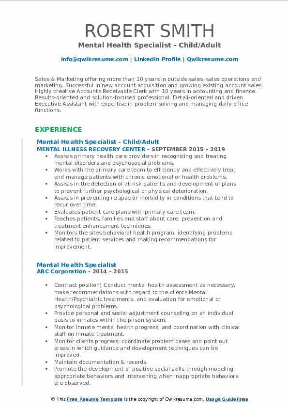 Mental Health Specialist - Child/Adult Resume Format