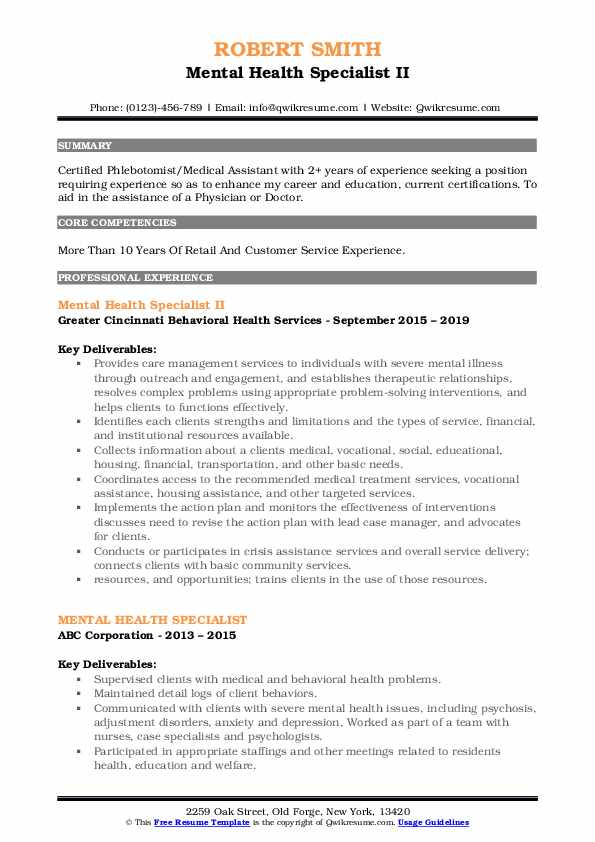 Mental Health Specialist II Resume Example