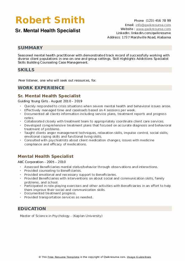 Sr. Mental Health Specialist Resume Template