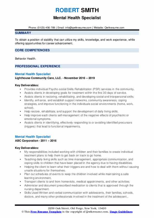 mental health specialist resume samples