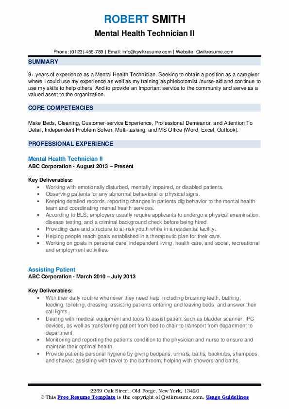 mental health technician resume samples