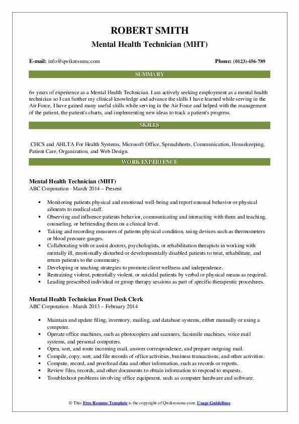 Mental Health Technician (MHT) Resume Example
