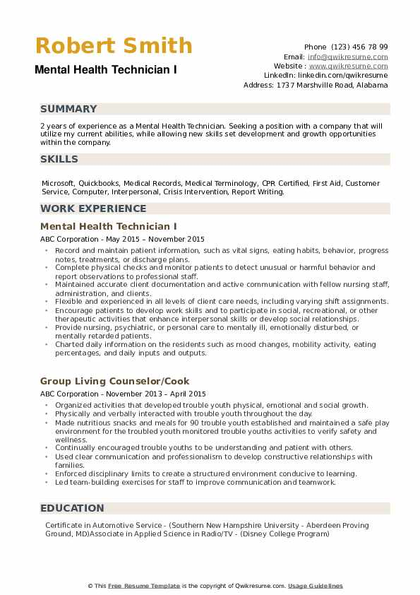 Mental Health Technician Resume example