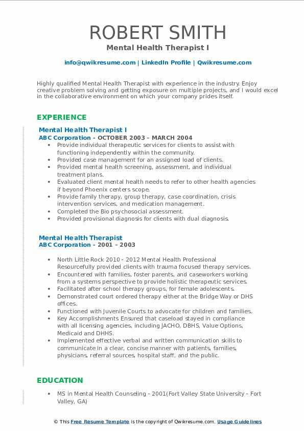 mental health therapist resume samples  qwikresume