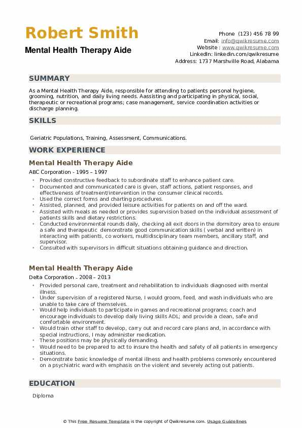 Mental Health Therapy Aide Resume example