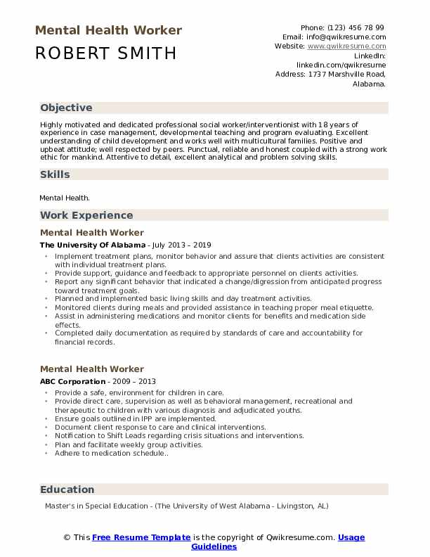 Resume objective for mental health worker