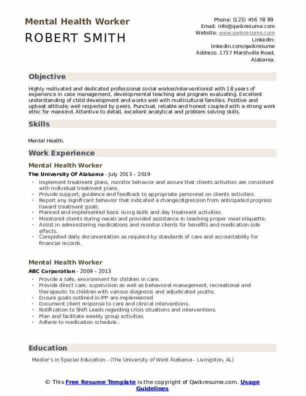Mental Health Worker Resume Samples | QwikResume
