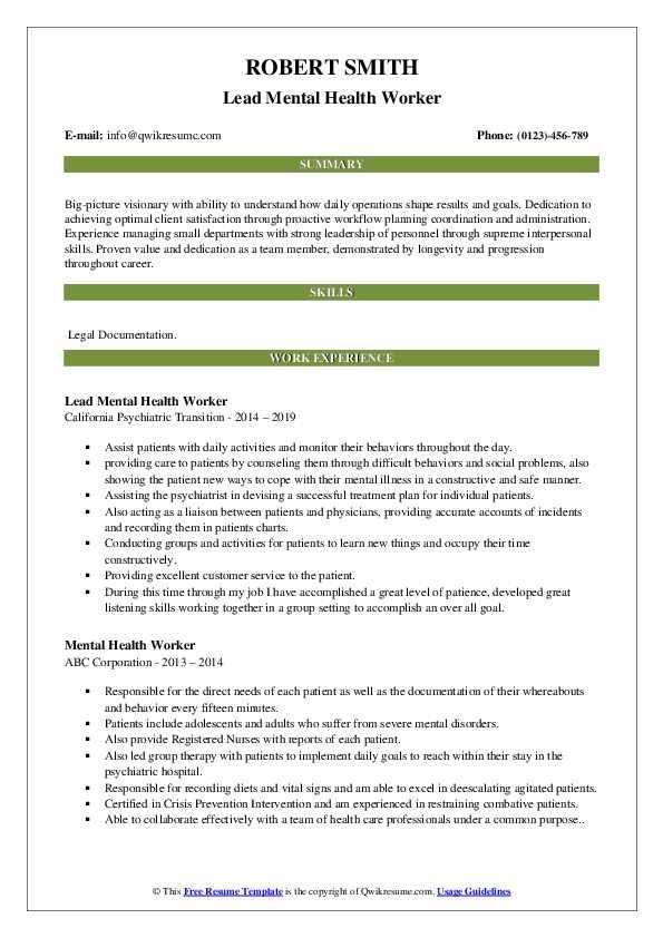 Lead Mental Health Worker Resume Sample