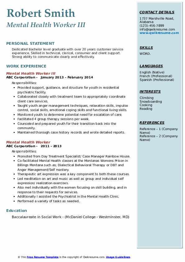Mental Health Worker III Resume Example