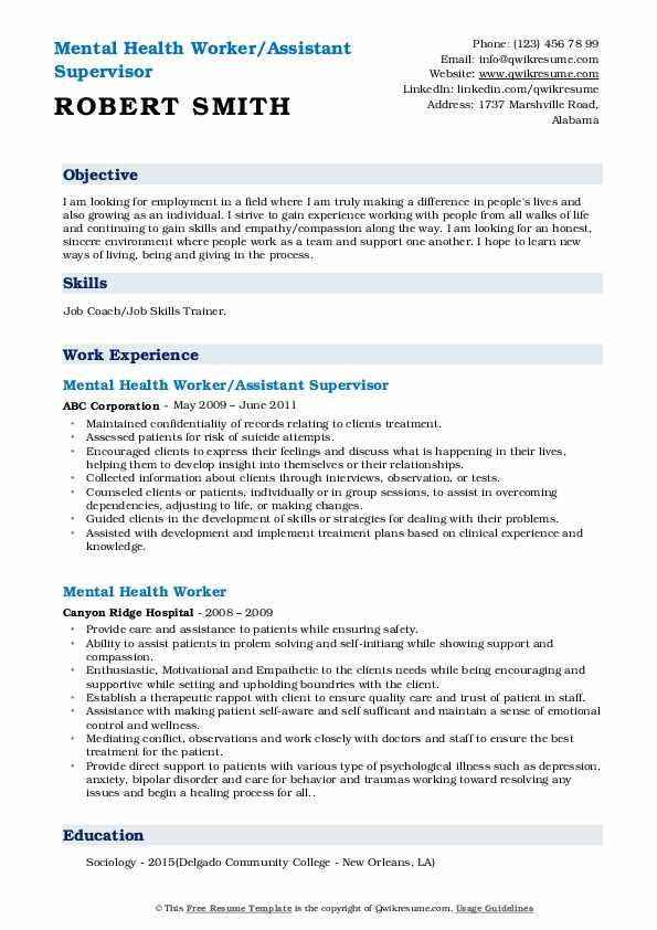 Mental Health Worker/Assistant Supervisor Resume Model