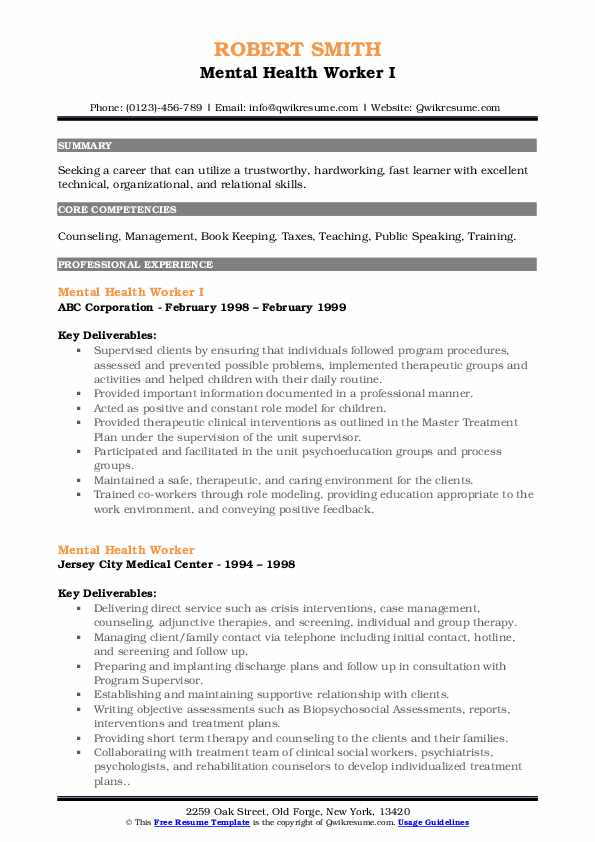 Mental Health Worker I Resume Example