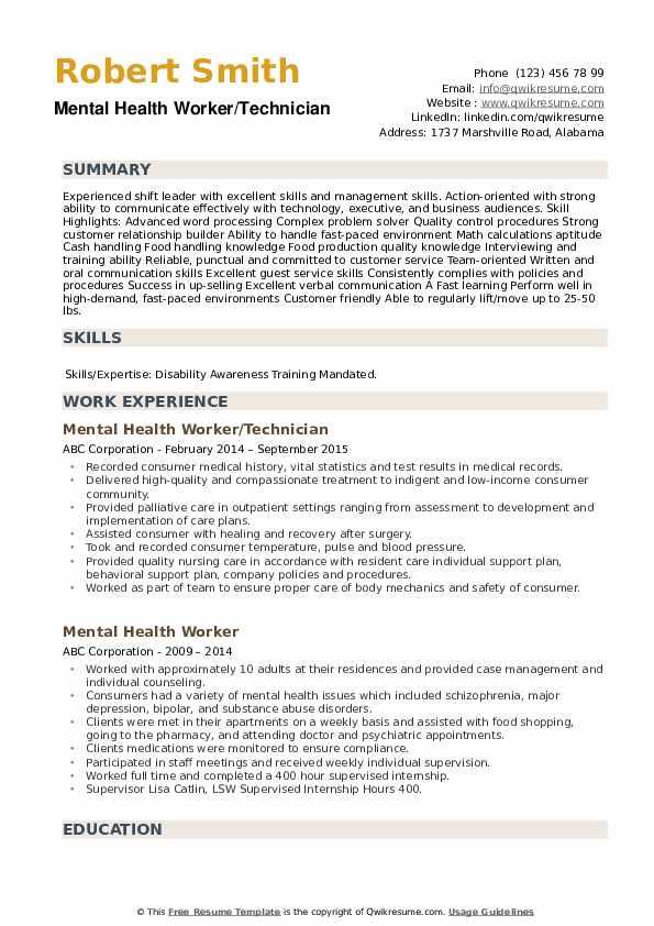 Mental Health Worker/Technician Resume Model