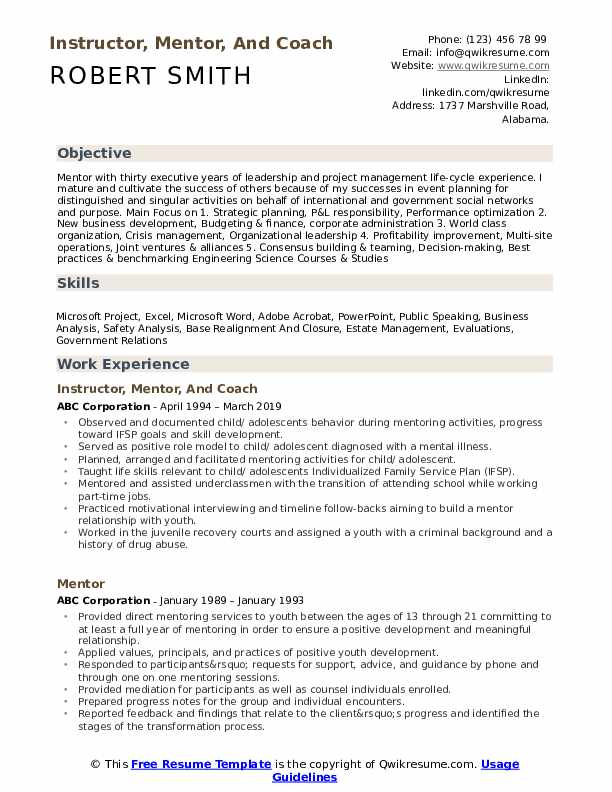 Instructor Mentor And Coach Resume Template