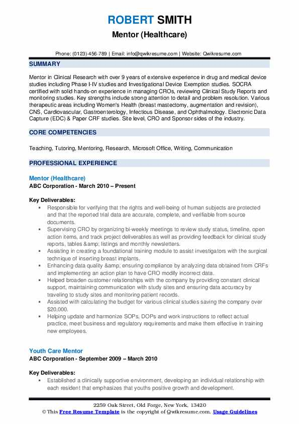Mentor (Healthcare) Resume Model
