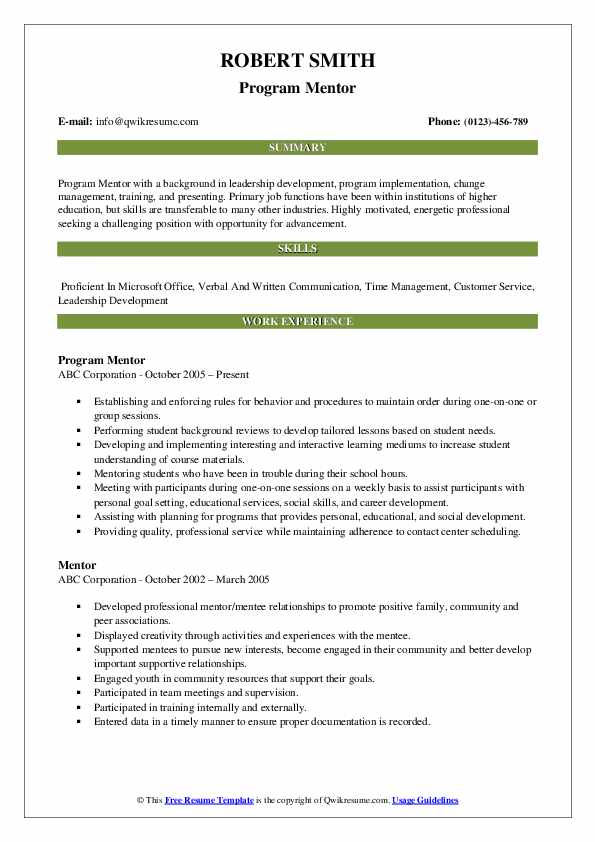 Program Mentor Resume Sample