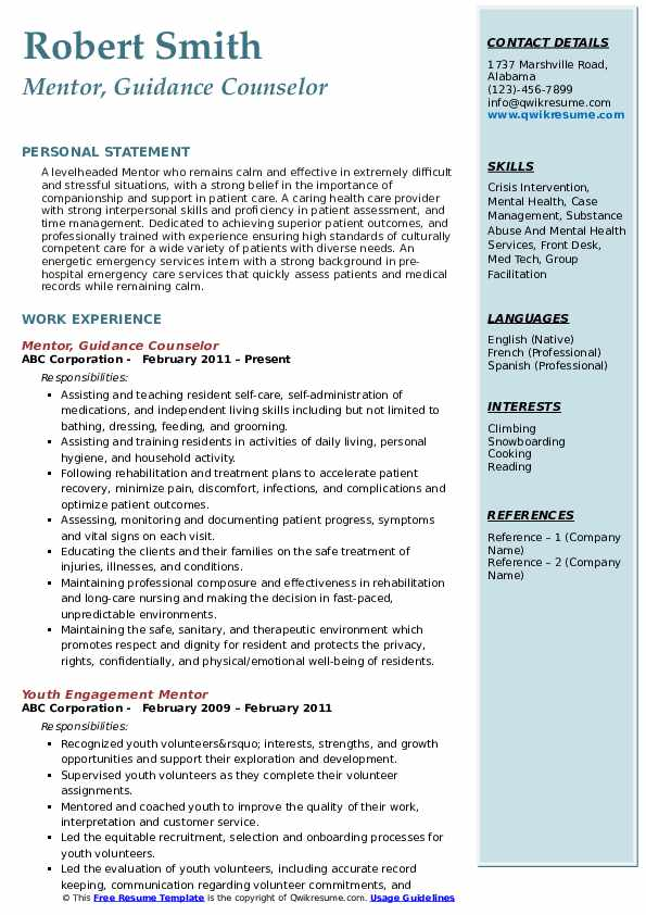 Mentor, Guidance Counselor Resume Model