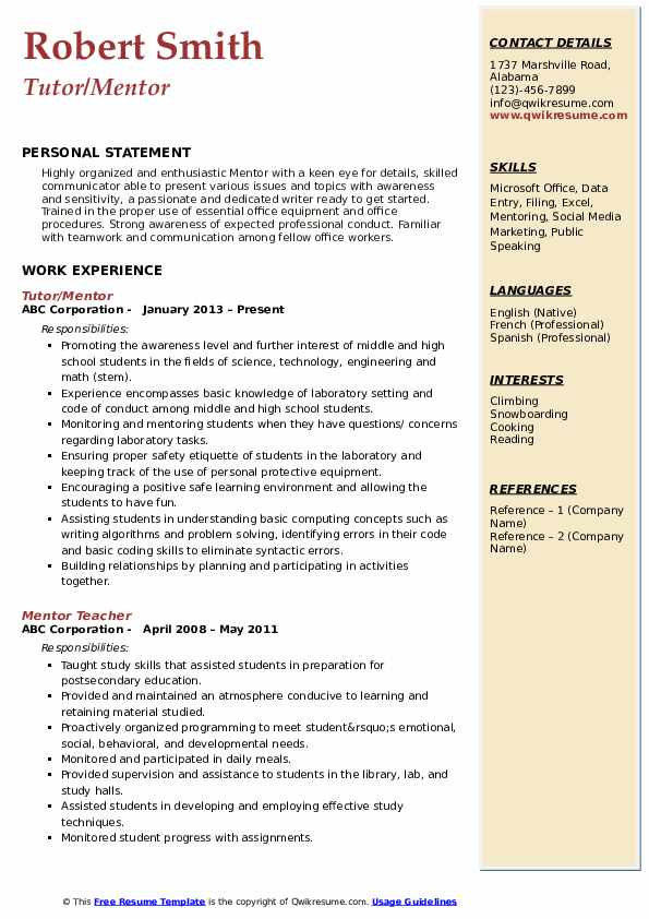 Tutor/Mentor Resume Model