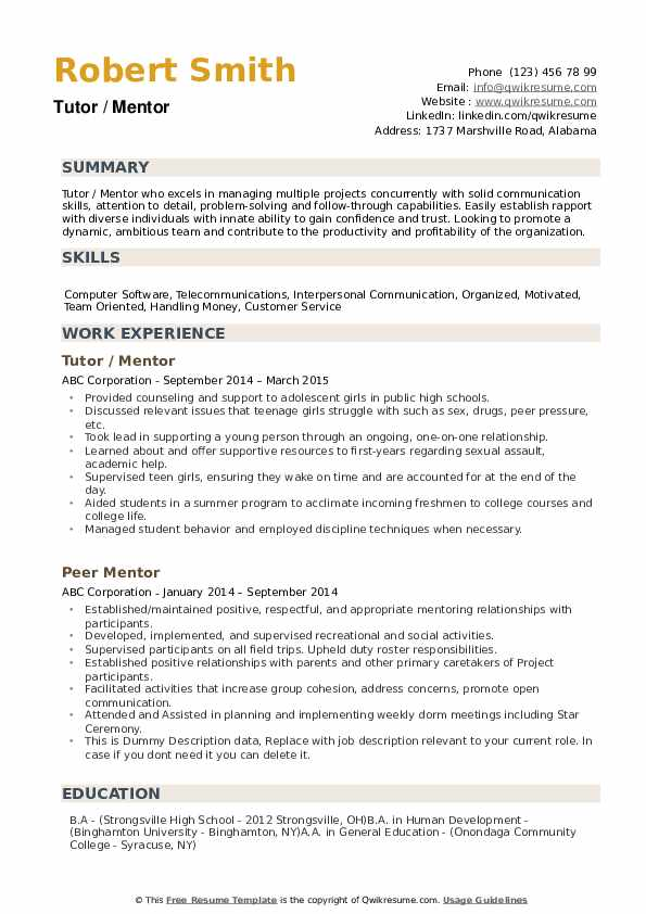 Mentor Resume Samples