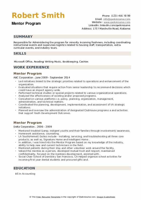 Mentor Program Resume example