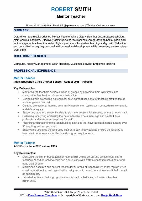 Mentor Teacher Resume Samples | QwikResume