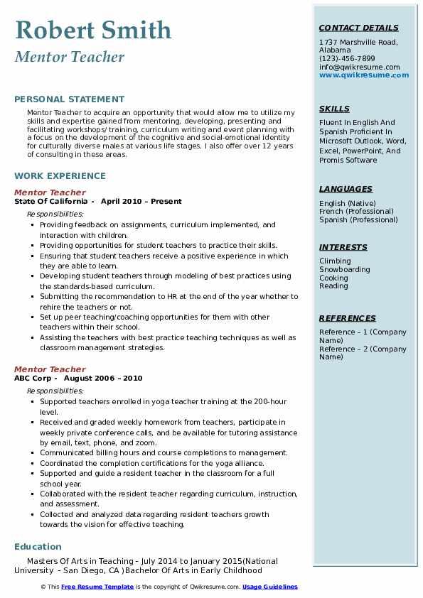 Mentor Teacher Resume Template