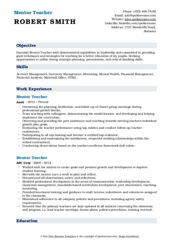 Mentor Teacher Resume Format