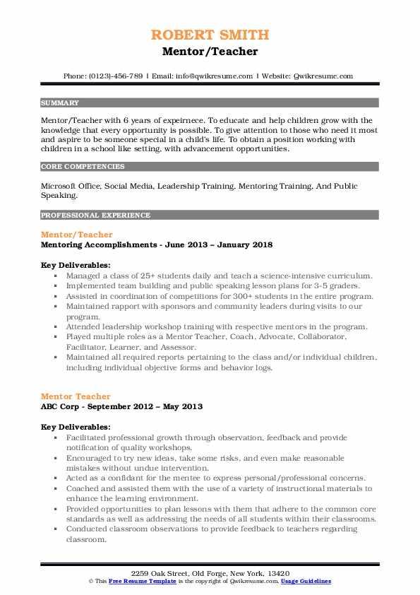 Mentor/Teacher Resume Model