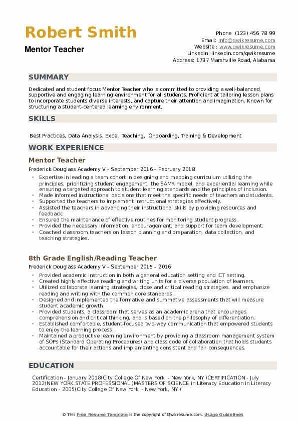 Mentor Teacher Resume example