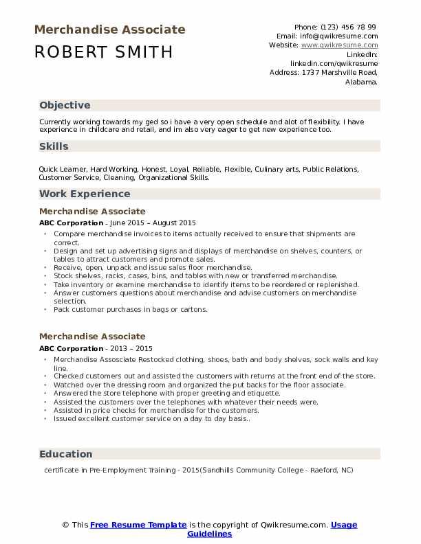 Merchandise Associate Resume Template