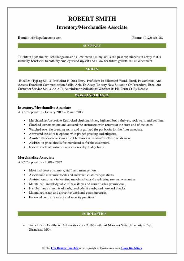 Merchandise Associate Resume Samples | QwikResume