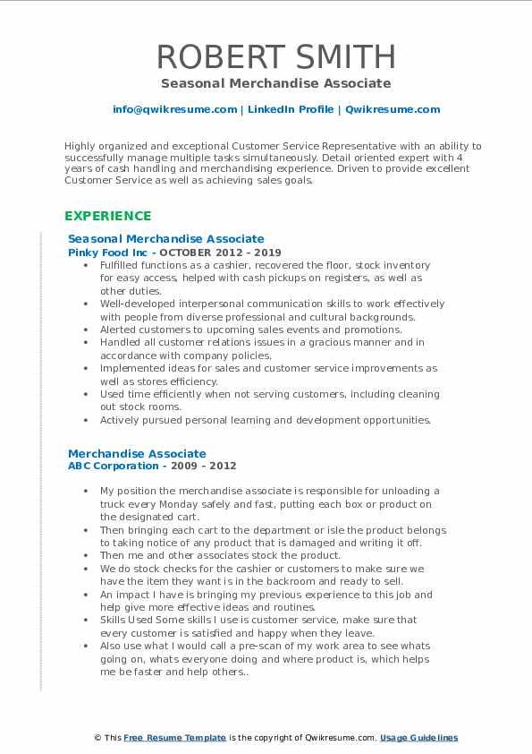 Seasonal Merchandise Associate Resume Model