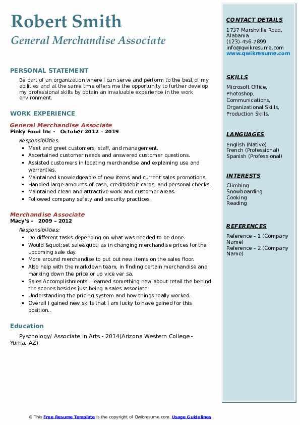 General Merchandise Associate Resume Example