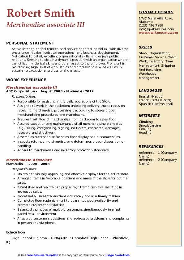 Merchandise associate III Resume Model
