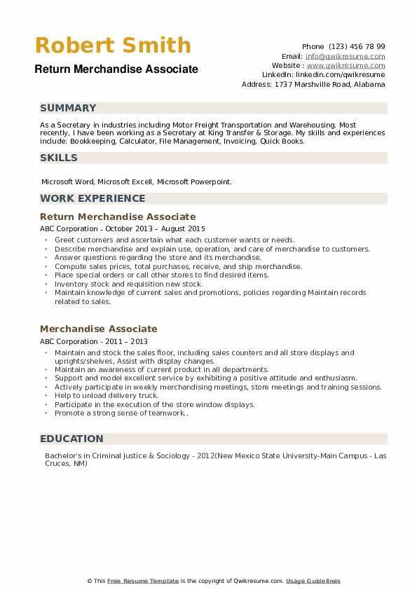 Return Merchandise Associate Resume Model
