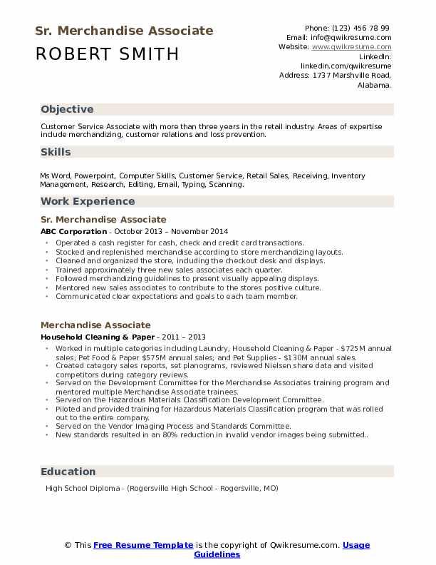 merchandise associate resume samples