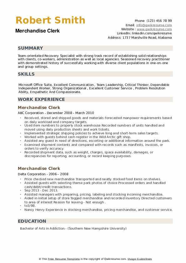 Merchandise Clerk Resume example