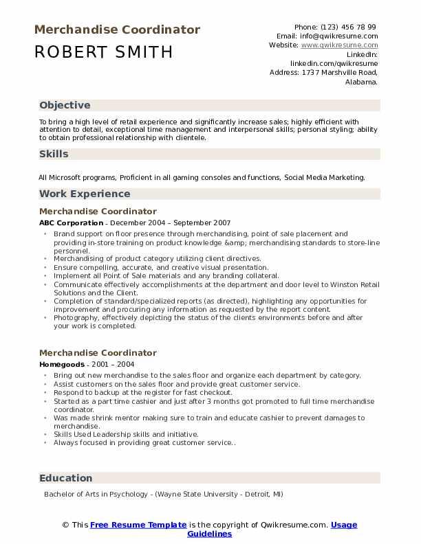 Merchandise Coordinator Resume Format