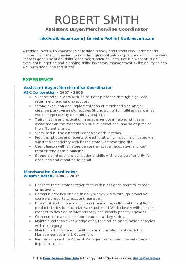 Assistant Buyer/Merchandise Coordinator Resume Sample
