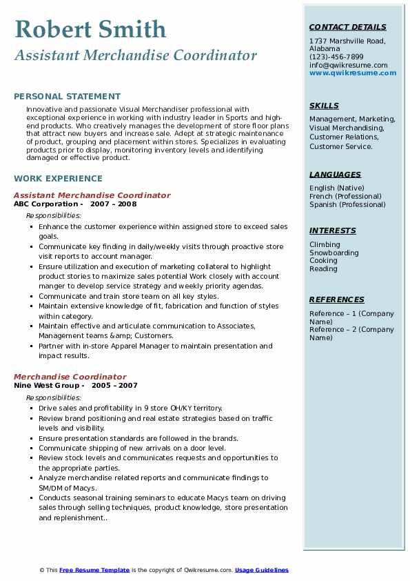 Assistant Merchandise Coordinator Resume Format