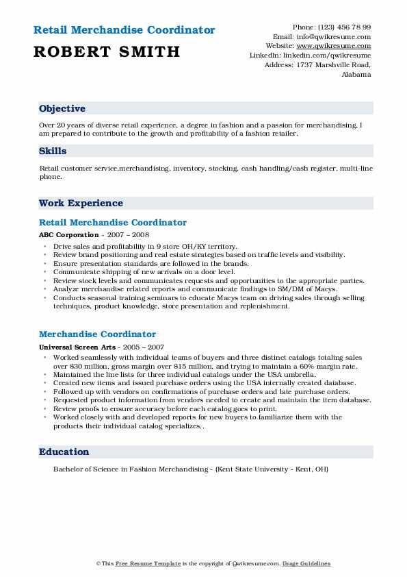 Retail Merchandise Coordinator Resume Format