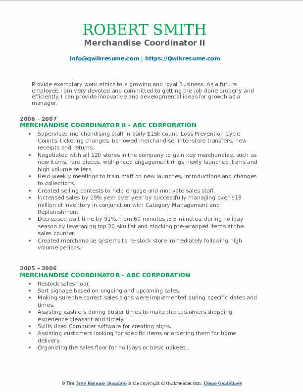 Merchandise Coordinator II Resume Sample