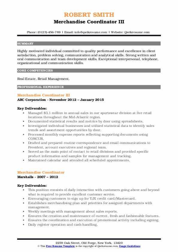 Merchandise Coordinator III Resume Example