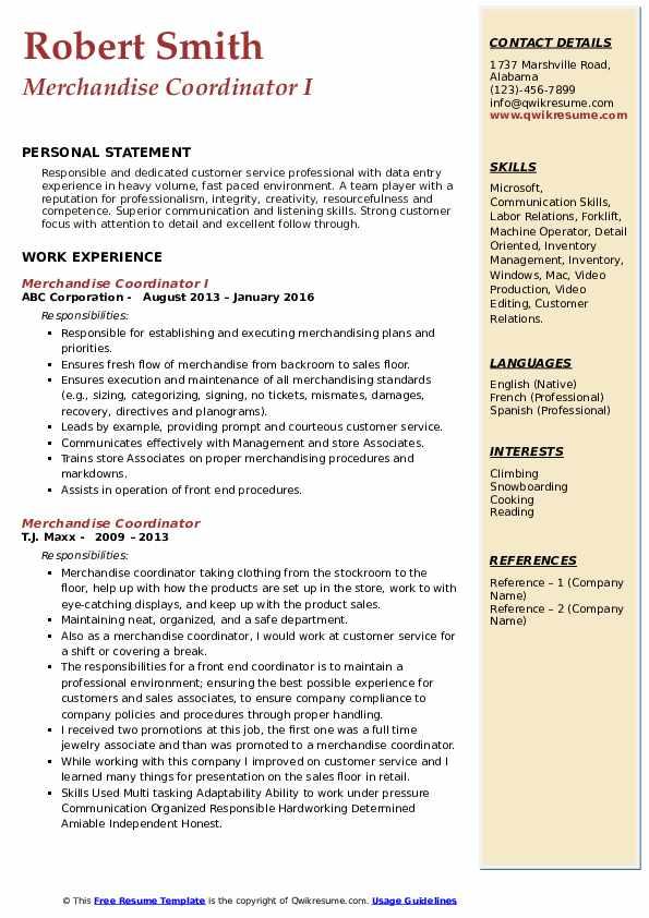 Merchandise Coordinator I Resume Model