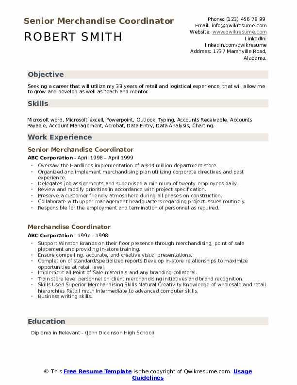 Senior Merchandise Coordinator Resume Model